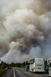 Smoke rises from a blaze along the Parks Highway north of Denali National Park, Alaska.