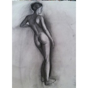 """Figure Drawing, 11""""x14, graphite and charcoal on paper, $95"""