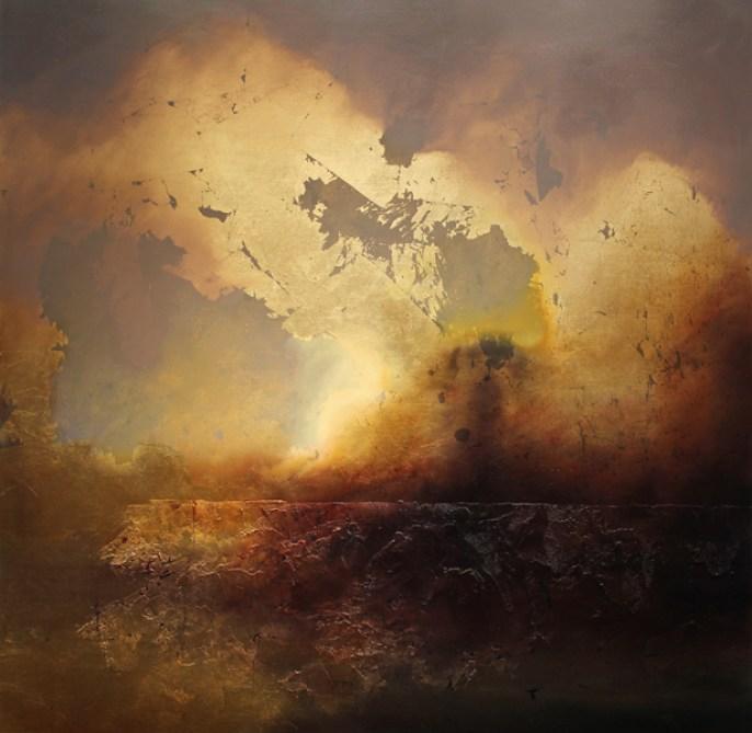 """Window"" Oil, Metal Leaf on Panel 36"" x 36"" Copyright 2012 by Steven DaLuz"