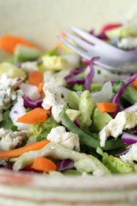 chopped salad with garlic lemon dressing