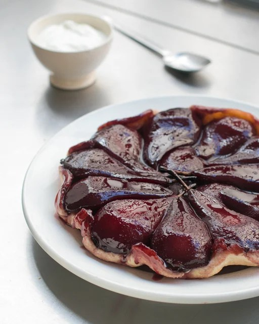 Red wine poached pear tart recipe