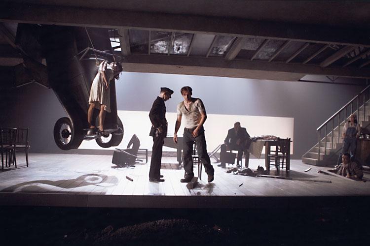 The Postman Always Rings Twice - David Smith as Warder, Patrick O'Kane as Frank, Charlotte Emmerson as Cora, Malcolm Rennie as Sackett, Aran Bell as Kennedy, Clara Perez as Madge Allen