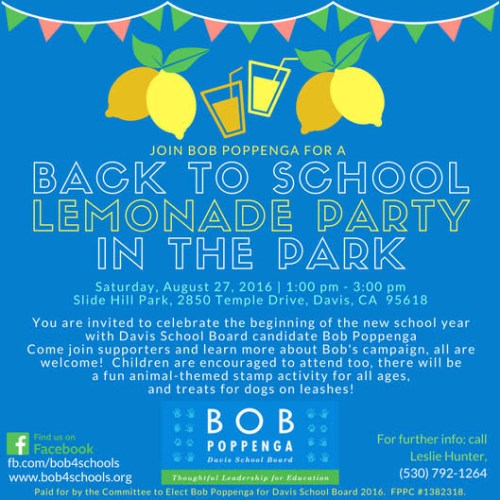 Bob Poppenga For School Board: Saturday Lemonade in Slide Hill Park