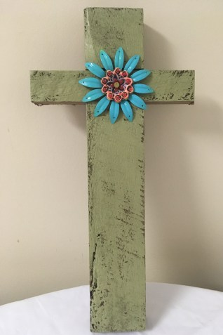 Painted green cross by Romy Clare