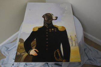 $50 VALUE - Decorated colonial military dog painting by Dogma Catmantoo