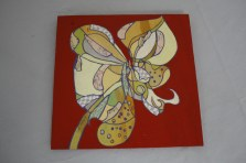 $35 VALUE - Flower collage painting on red plywood background by artist Michelle Prahler