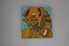 $55 VALUE - Collage raccoon painting on blue plywood background