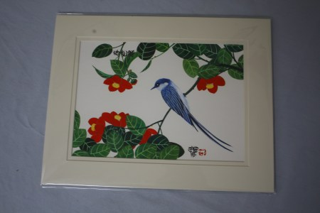 $90 VALUE - Matted bird on a branch painting by artist P.L. Cockman