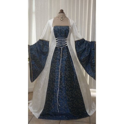 index medieval wedding dress Medieval Renaissance Pagan Ivory and Blue Wedding Dress