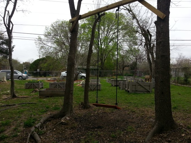 Swing in community garden