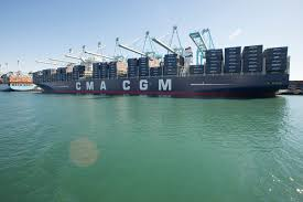 cma cgm benjamin franklin  Is largest container ship ever to dock In North America