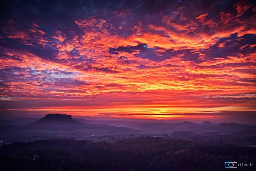 Sonnenuntergang am Lilienstein
