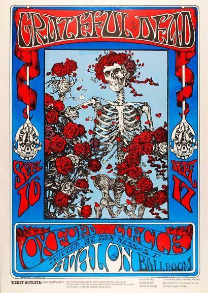Professor Poster's poster of the day: Skull n Roses (Rubaiyat of Omat Khayyam) Stanley Mouse & Alton Kelley