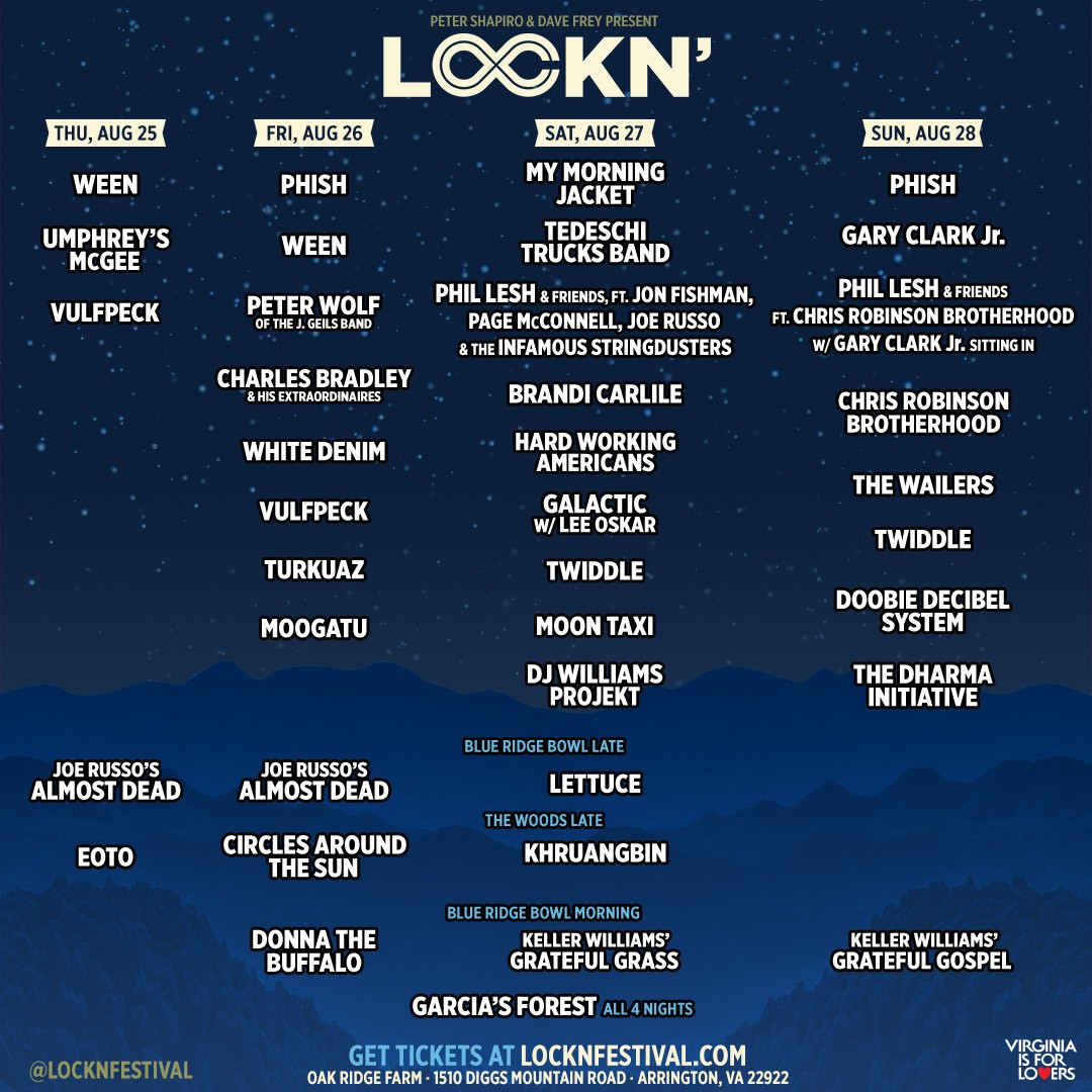 LOCKN FESTIVAL 2016: Phil Lesh's Friends incl. members of Phish, Infamous Stringdusters, Chris Robinson Brotherhood, and Gary Clarke Jr!