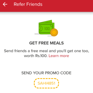 zomato app refer and earn