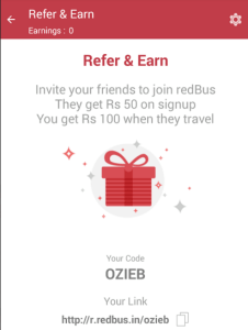 redbus app refer and earn upto Rs 500