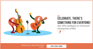 freecharge 10 cashback on recharges and bill payments