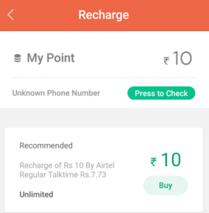 recharge for Rs 10 free from truebalance app