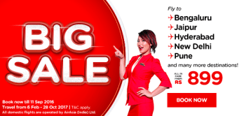 Air Asia Big Sale- Book your flights tickets starting at Rs 899 only