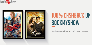 bookmyshow get 100 cashback via freecharge wallet