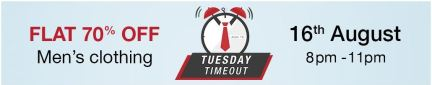 (Live at 8 PM) Amazon Tuesday Timeout- Get flat 70% off on Men's Clothing (8 PM- 11 PM)