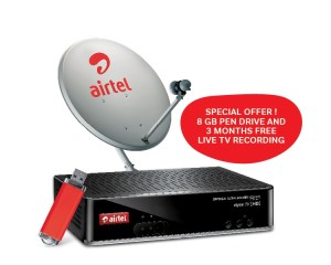 Snapdeal Airtel DTH Mega HD+ connection with 8 GB pen drive + Free 1 month subscription + Free 3 months Recording