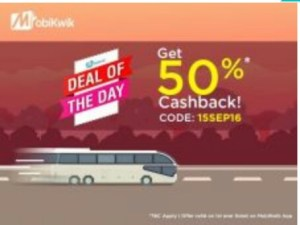 Mobikwik- Get flat 50% cashback on booking bus tickets (New) or 25% cashback (Old users)
