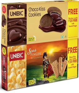 Amazon - Unibic Scotch Finger 100g with free choco kiss 60g at Rs 30 only
