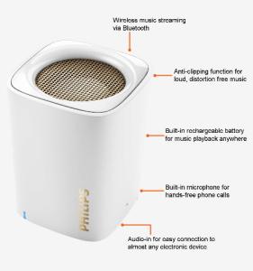 Philips BT100W/00 Speaker (White)