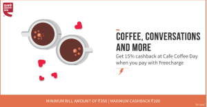 Cafe Coffee Day - Get 15% cashback upto Rs 100 on Paying via Freecharge wallet