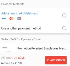 aliexpress order enter card details