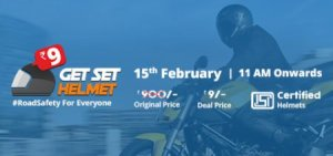 droom get helmet for just Rs 9 only at 11 AM 15th february 2017
