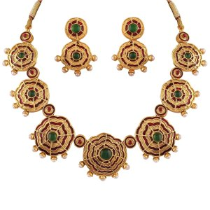 Amazon - Buy Variation Green Red Enamel Pearl Necklace For Women at Rs 199 only