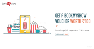 Freecharge - Get Rs 100 Bookmyshow Voucher on Recharge of Rs 150 or More