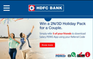hdfc bank app refer 5 friends and earn a free 2n 3d holiday voucher