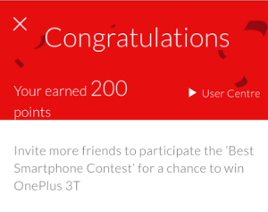 oneplus 3t contest 200 points earn vouchers, mobile and Rs 1 crore