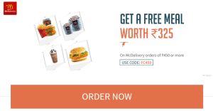 Get a free meal worth Rs.325 on Macdelivery order of Rs. 450 and more on paying via freecharge wallet
