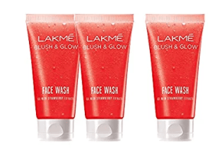 Lakme Blush and Glow Gel Face Wash, Strawberry, 100g (Buy 2 Get 1 Free)