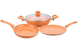 Wonderchef Tangerine Induction Base Aluminium Cookware Set, 4-Pieces, Orange at Rs.1,774