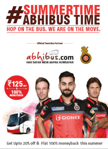 abhibus summer offer upto Rs.125 discount and flat 100% money back