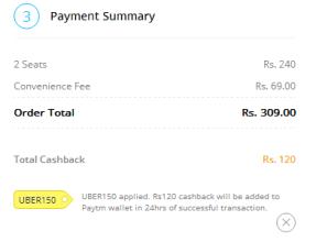uber paytm uber150 code