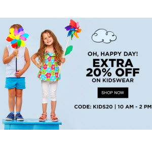 Jabong – Sale Kids Clothing & Footwear Upto 80% off + 20% off