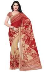Amazon - Buy Anand Sarees Saree (Ivory Red) for just Rs.100