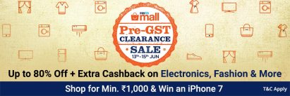 PaytmMall Pre GST clearance Sale- Get upto 80% Off +Extra Cashback on Electronics,Fashion &More