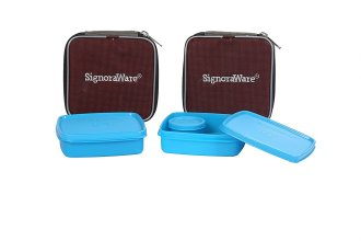 Signoraware Nano Twin Smart Lunch Box with Bag Set, 390ml, Set of 2, Turkish Blue for Rs 363
