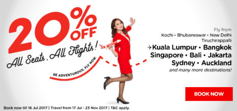 AirAsia- Get Flat 20% Discount on All Seats All Flights