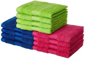 Solimo 100% Cotton 12 Piece Face Towel Set