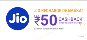 PhonePe- Flat Rs.50 Cashback On Jio Recharge Of Rs.149 Or More (Once Per User)