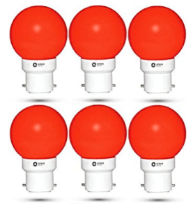 Orient Electric Base B22 0.5-Watt LED Bulb (Pack of 6, Red) at rs.179