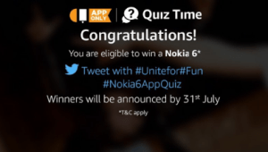 amazon answer small quiz and win Nokia 6 phone 18th July